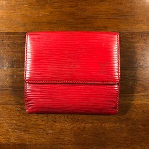 ❤️ LOUIS VUITTON Red Epi Compact Wallet 💯 AUTH